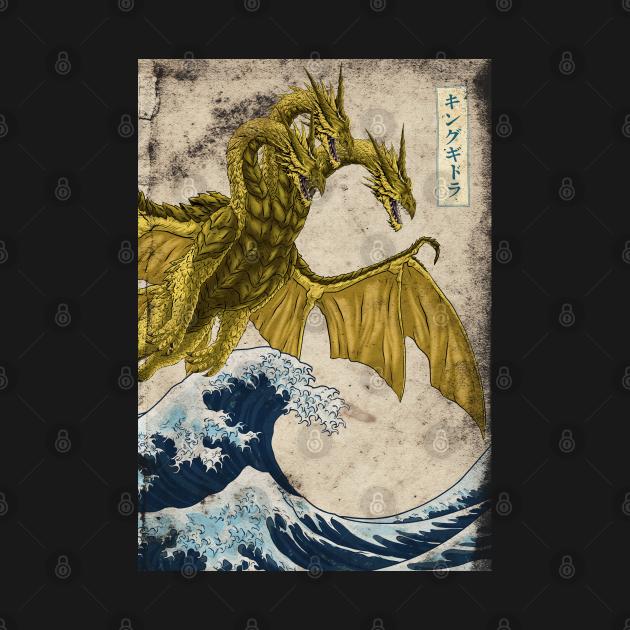 TeePublic: King Ghidorah Ukiyo-e