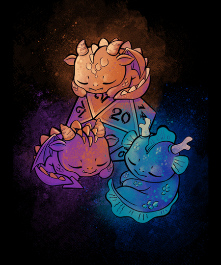 Qwertee: D20 Little Dragons!