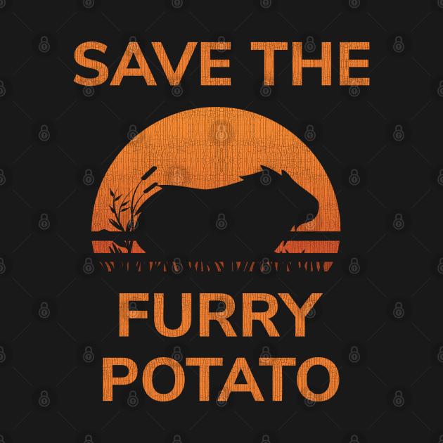 TeePublic: Save The Furry Potato T-Shirt - Guinea Pig Wheek Retro Gift