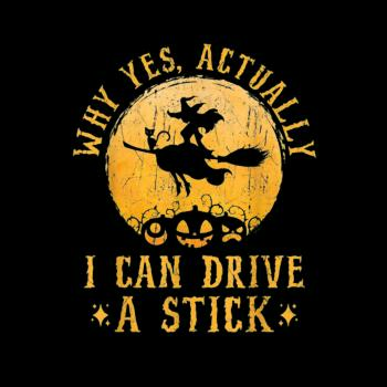BustedTees: I Can Drive A Stick Witch Costume Kids Shirt