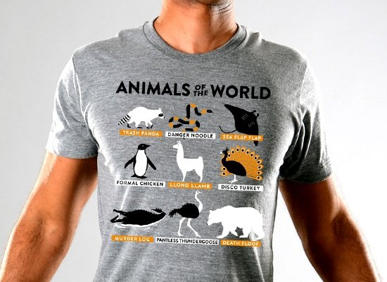 ca3fbff91 Animals Of The World Limited Edition Tri-Blend from SnorgTees | Day ...