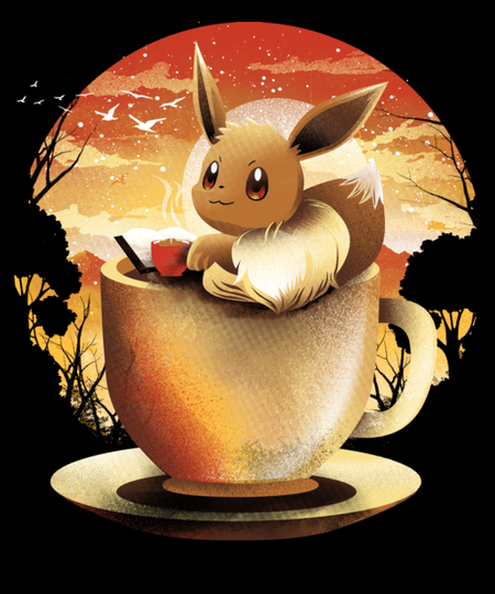 Qwertee: Coffee and Book Moonlight