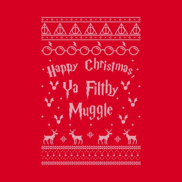 "TeePublic: HP x Home Alone Christmas Sweater - ""Happy Christmas ya Filthy Muggle"""