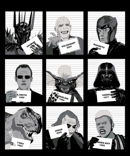 Qwertee: Villains movies jail