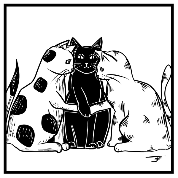 NeatoShop: Inktober Day 29: UNITED - Plotting Trio of Cats