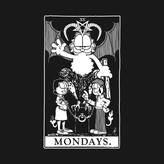 TeePublic: Garfield Tarot: Mondays (Printed White)