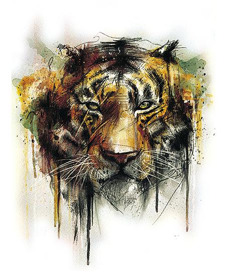 Qwertee: Tiger alpha White