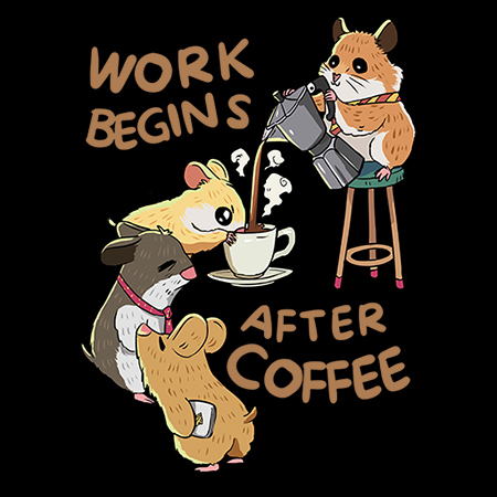 MeWicked: Work Begins After Coffee - Cute and Funny Hamsters
