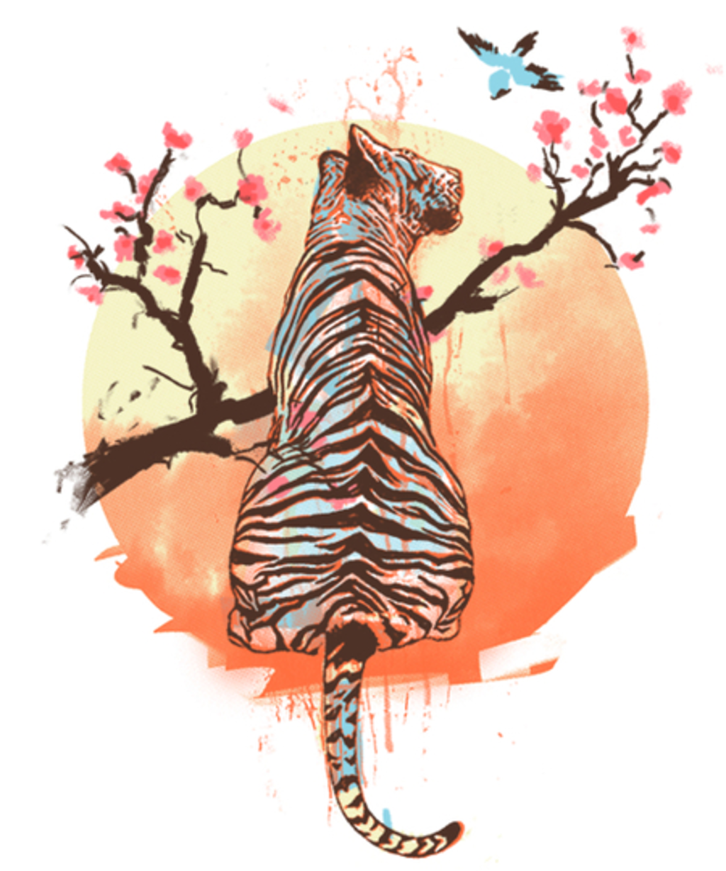 Qwertee: Tiger at sakura's tree