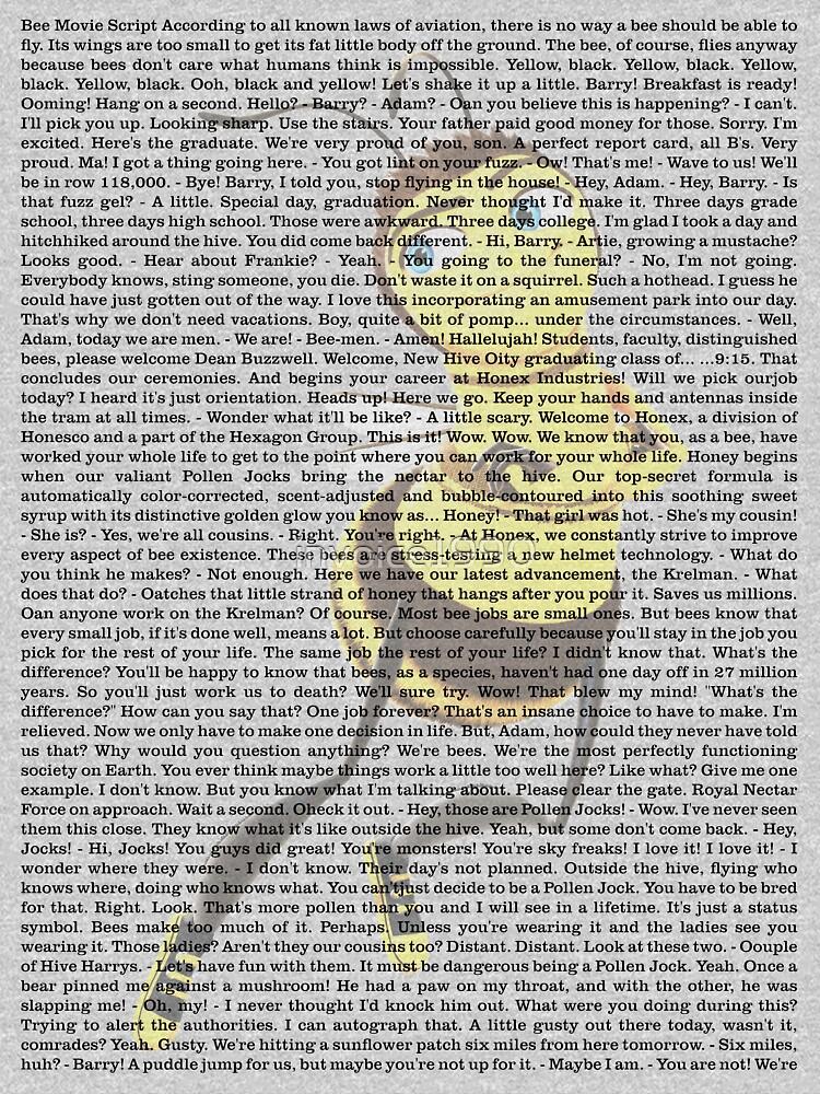 RedBubble: bee movie script