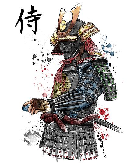 Qwertee: Samurai Watercolor
