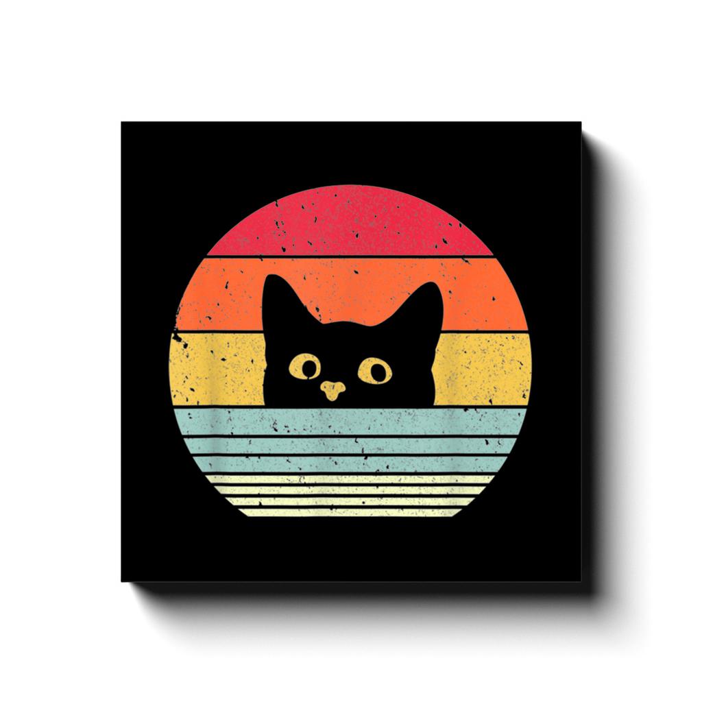 BustedTees: Cat Retro Canvas Wraps
