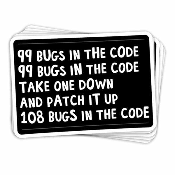 BustedTees: 99 Bugs in the Code Vinyl Sticker