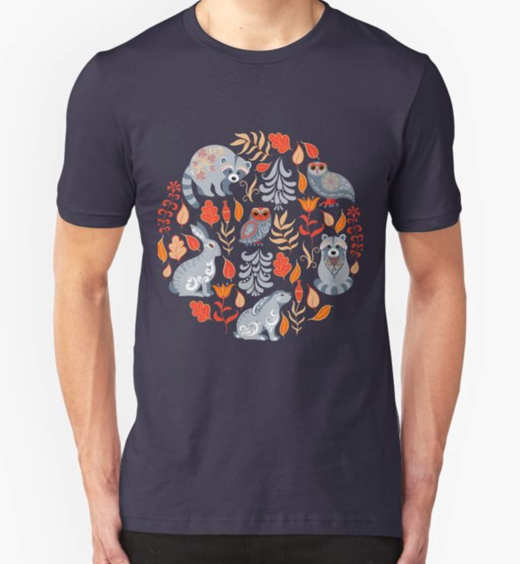 RedBubble: Fairy forest with animals and birds. Raccoons, owls, bunnies and little chick.