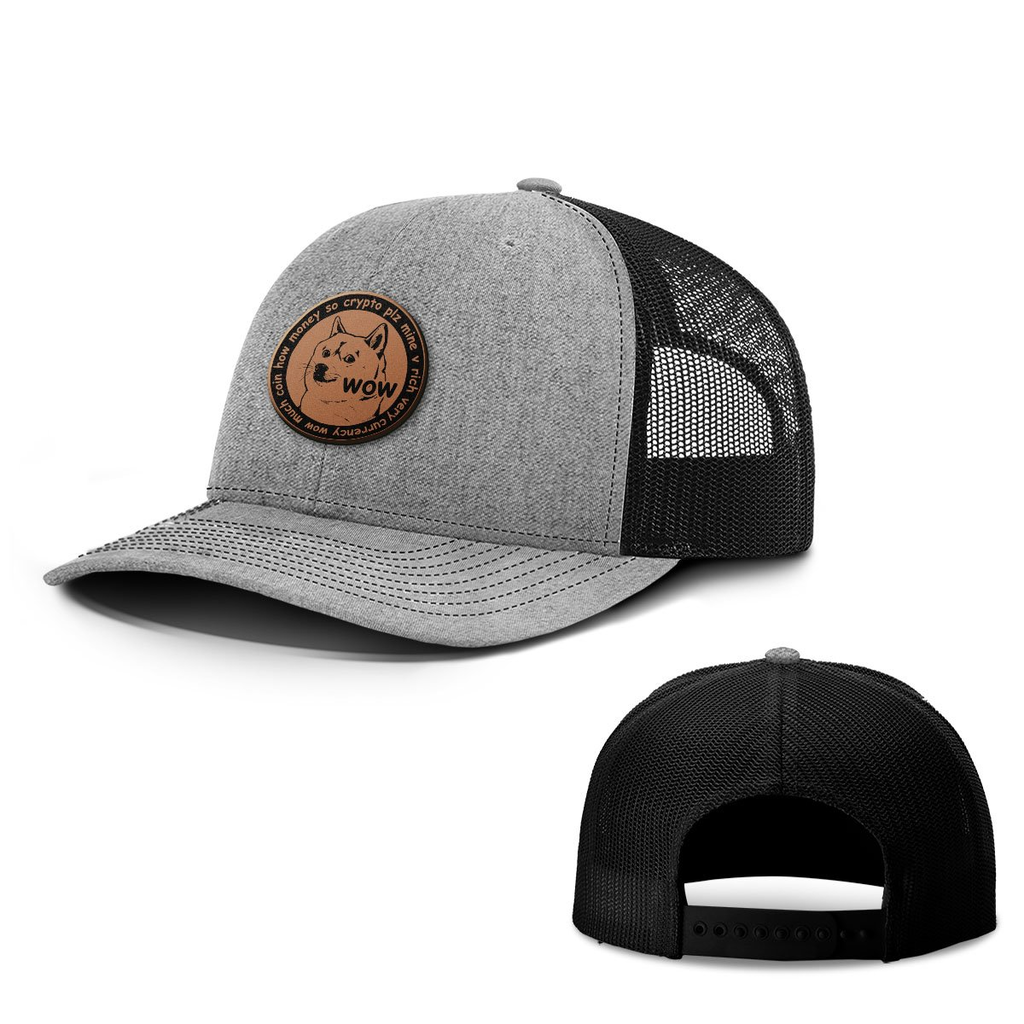 BustedTees: Doge Coin Leather Patch Hats