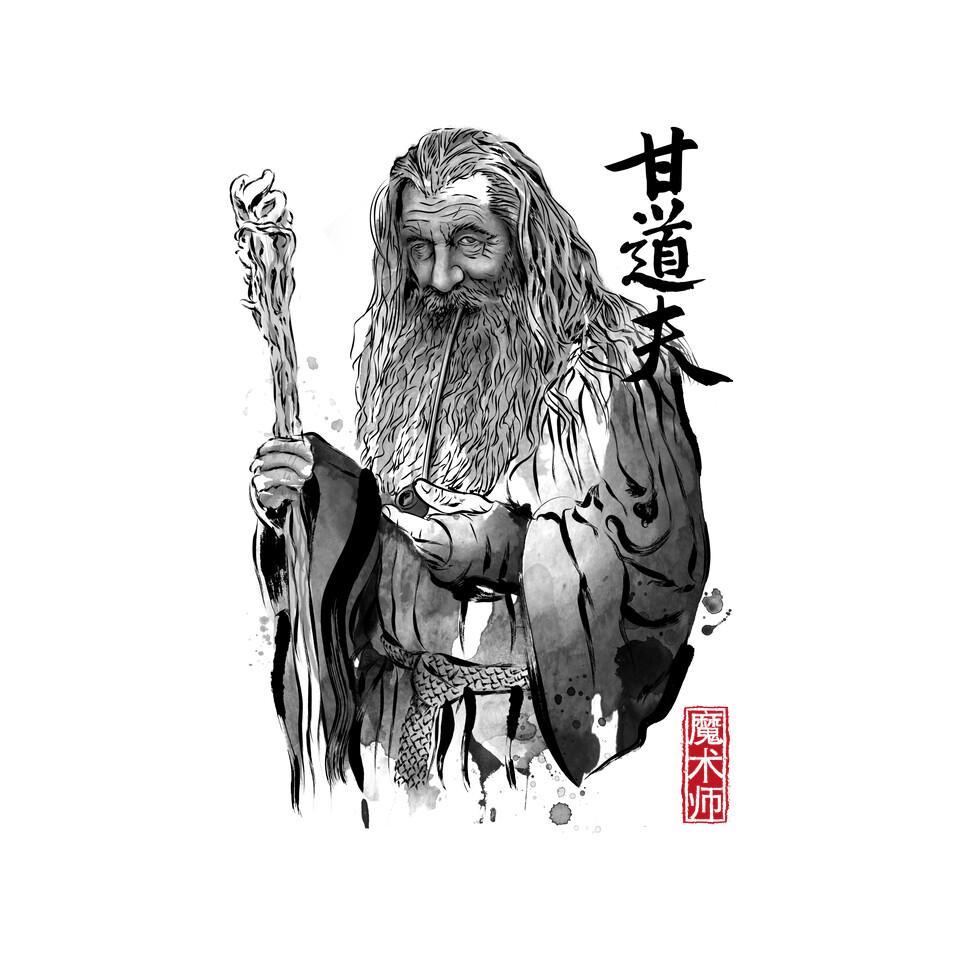 TeeFury: The Grey Wizard Sumi-E