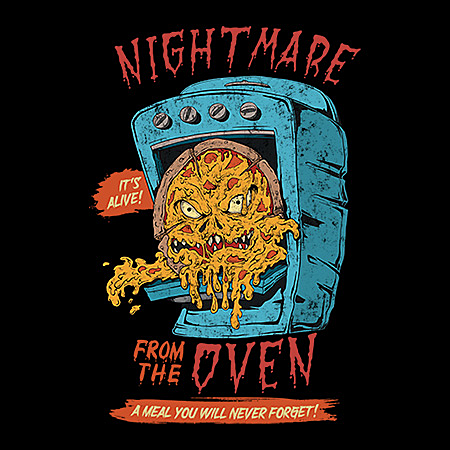 MeWicked: Nightmare from the Oven - Zombie Pizza - Vintage Movie Poster Style - Grunge