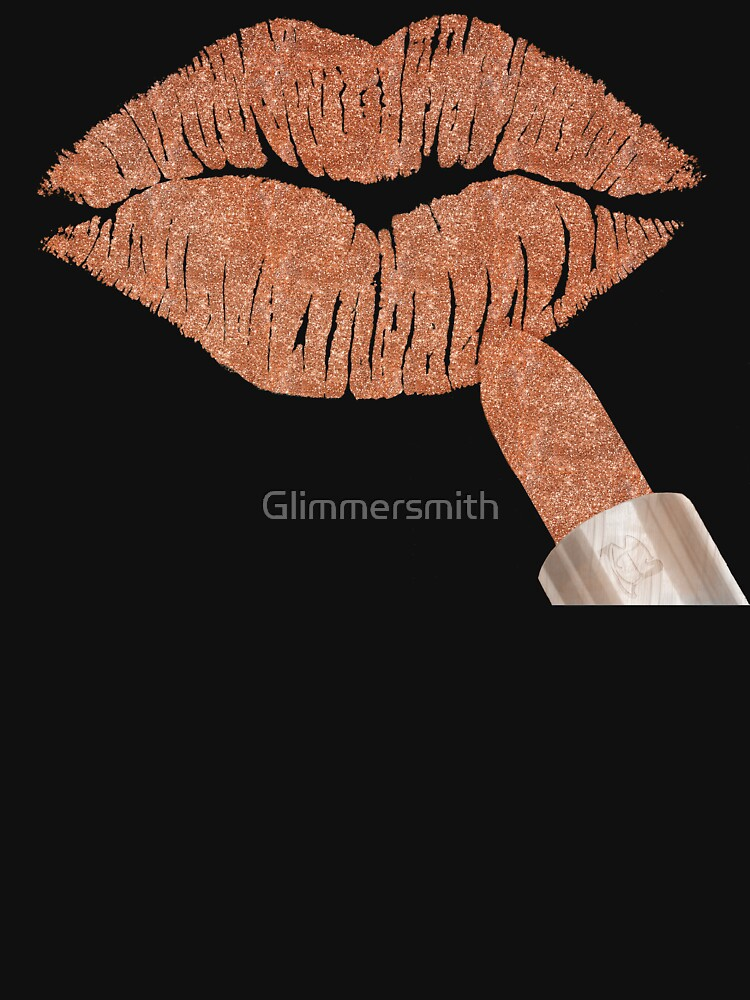 RedBubble: Rose gold Kiss metallic glitter lips fashion art
