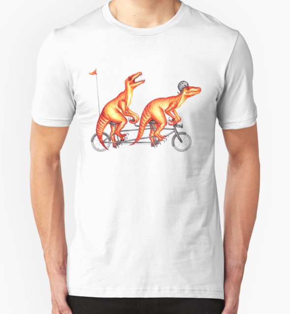 RedBubble: Cycling raptors on tandem bicycle