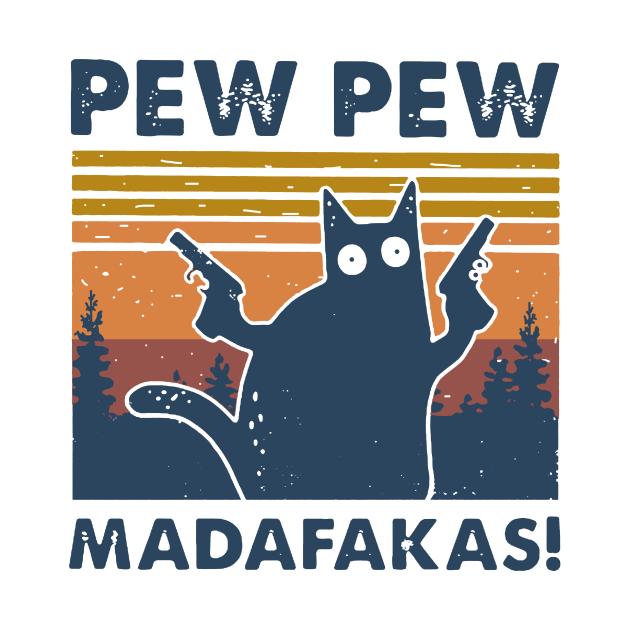 TeePublic: Cat Pew Pew Madafakas Vintage