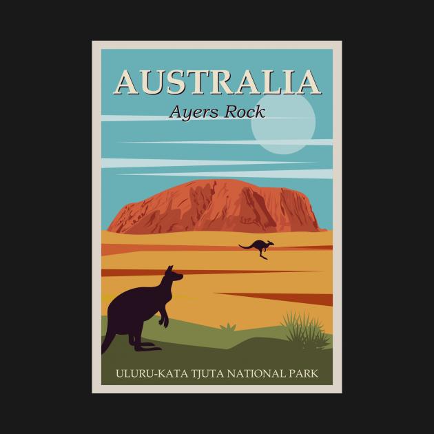 TeePublic: Australia Ayers Rock Uluru-Kata Tjuta Vintage Poster