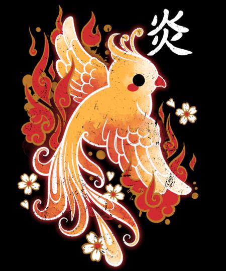 Qwertee: Fire Phoenix kawaii
