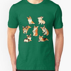 RedBubble: Jolly corgis in green