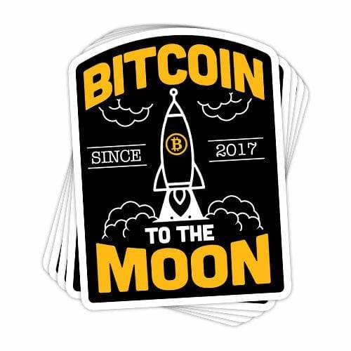 BustedTees: Bitcoin To The Moon Vinyl Sticker