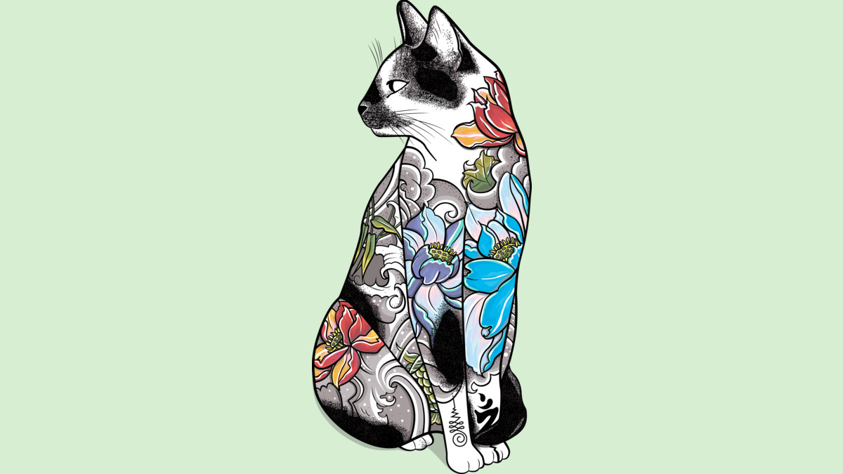 Design by Humans: Cat in Lotus Tattoo