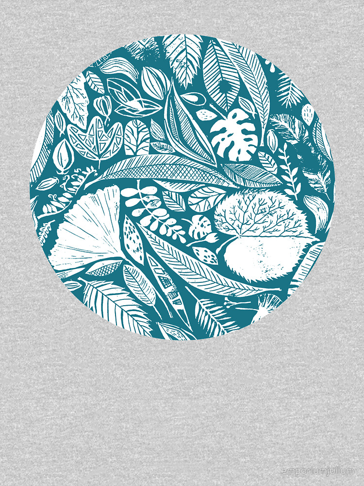 RedBubble: Mixed blue leaves, Lino cut printed nature inspired hand printed pattern