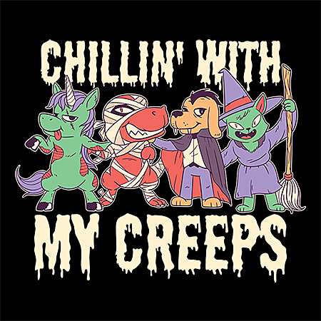 MeWicked: Chillin' with My Creeps - Zombie Unicorn, Mummy T-Rex, Vampire Dog, Witch Cat and Broom - Halloween