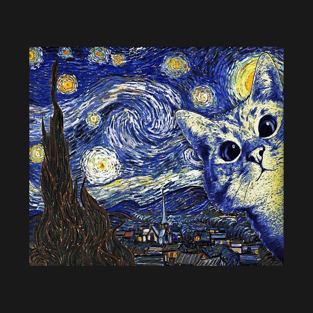 TeePublic: Cat The Starry Night Van Gogh