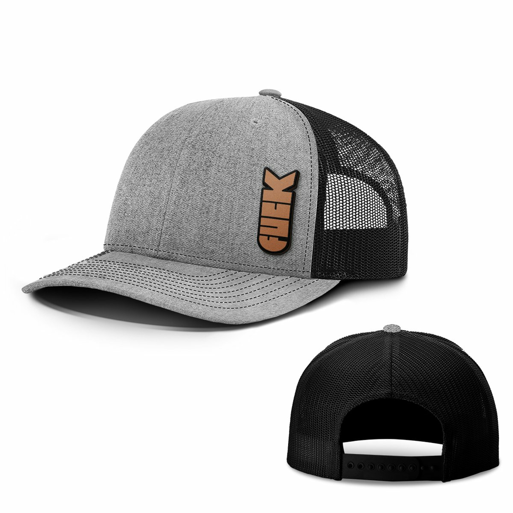 BustedTees: F Bomb Leather Patch Hats