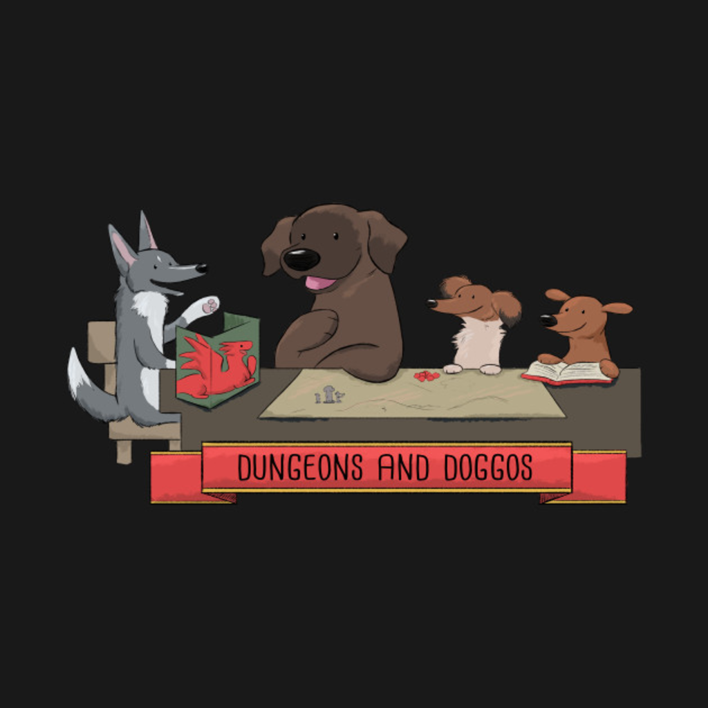 TeePublic: Doggos at the Table Color