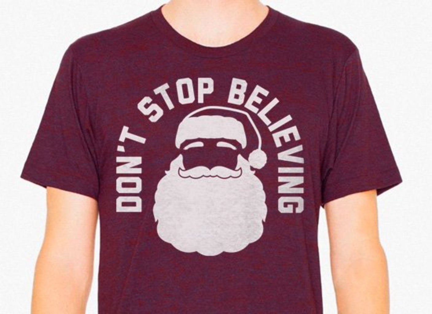 SnorgTees: Don't Stop Believing Santa Limited Edition Tri-Blend