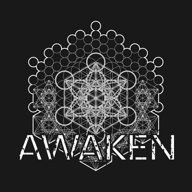 TeePublic: Awaken Distressed Vintage Sacred Metatron White