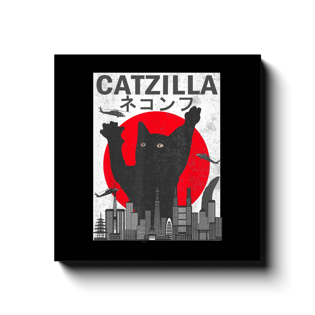 BustedTees: Vintage Catzilla Japanese Sunset Style Canvas Wraps