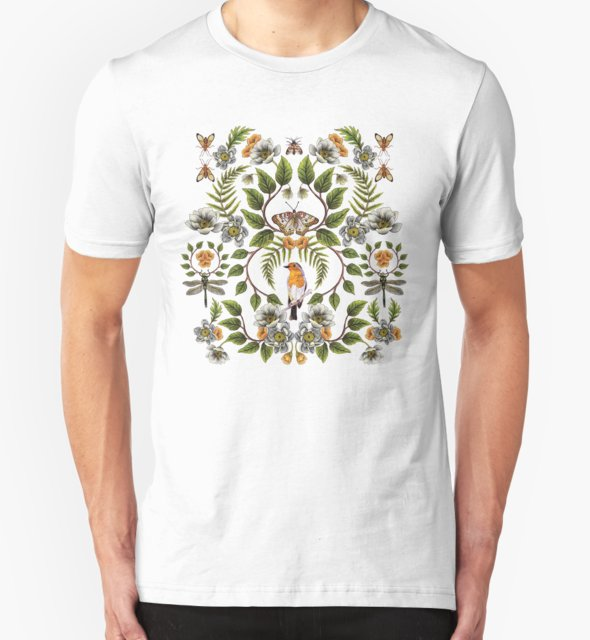 RedBubble: Spring Reflection - Floral/Botanical Pattern w/ Birds, Moths, Dragonflies & Flowers