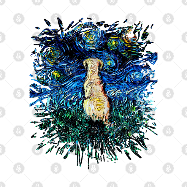 TeePublic: Yellow Labrador Night (splash version)