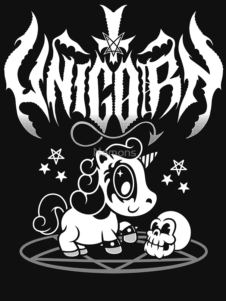 RedBubble: Kawaii Unicorn - Black Metal Logo - Creepy Cute Spooky Goth