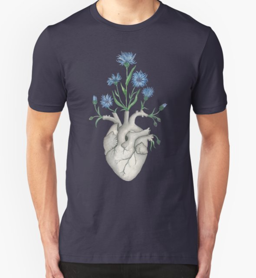 RedBubble: Floral Heart: Human Anatomy Cornflower Mothers Day Gift
