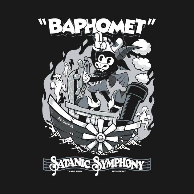 TeePublic: Vintage Cartoon Baphomet - Steamboat Baphy - Occult - Satanic Symphony