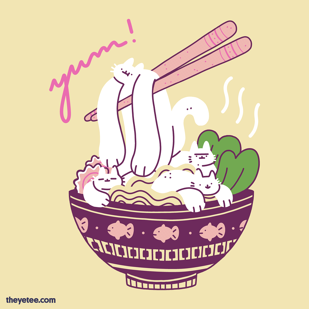 The Yetee: Wiggly Kitty Ramen 2.0