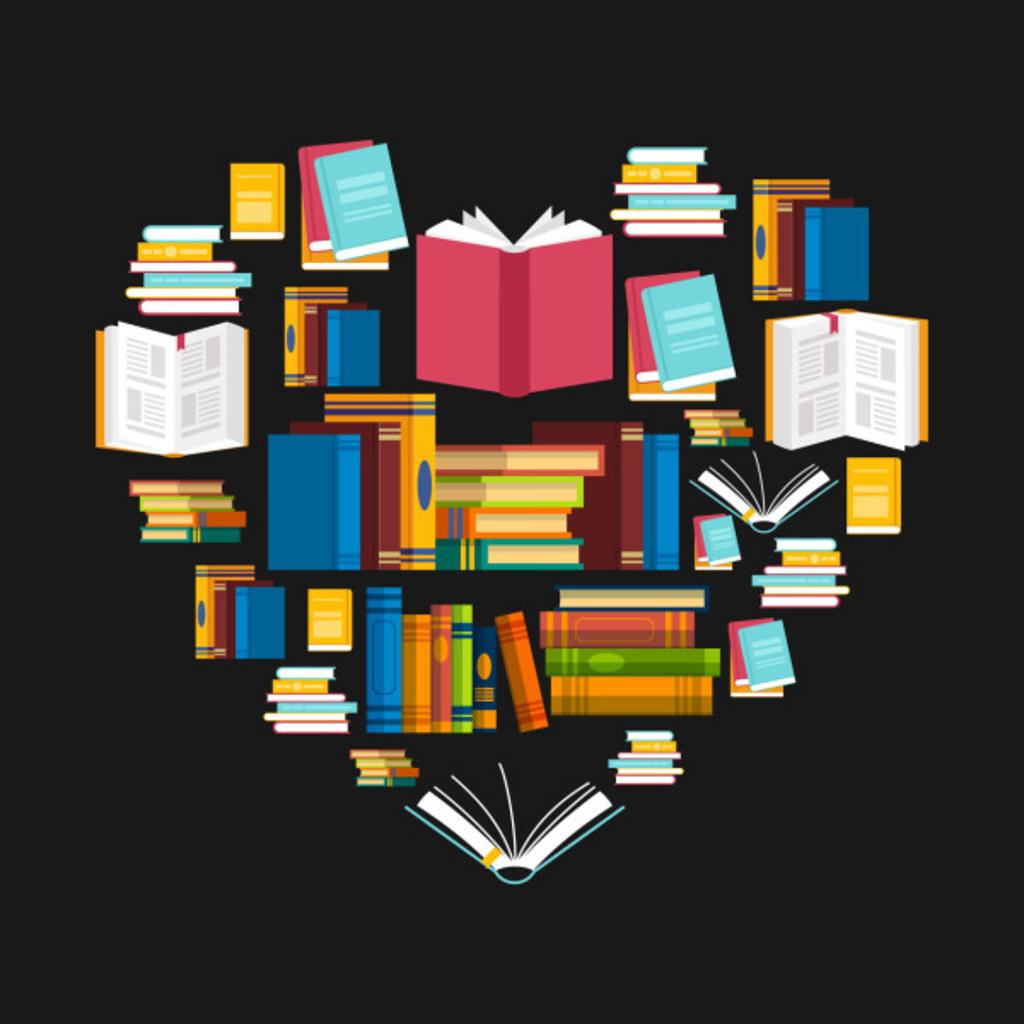 TeePublic: Book T-Shirt Reading Club Librarian Library Love Heart Tee