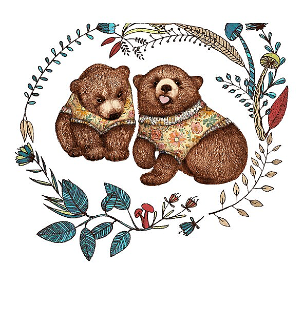 RedBubble: Whimsical Bear Pair with Fantasy Flora