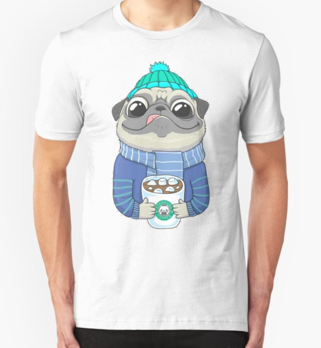 RedBubble: Pug with coffee