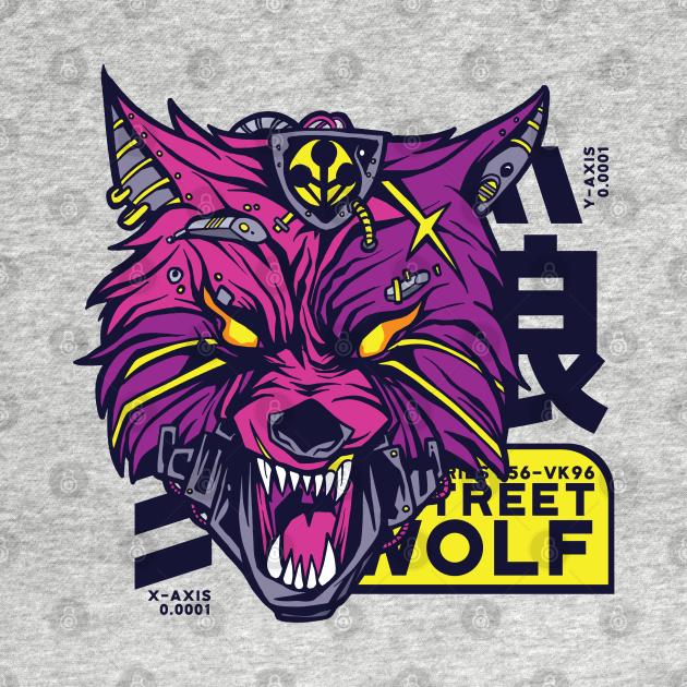 TeePublic: Cyberpunk wolf in japanese oni style
