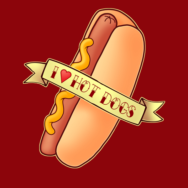 NeatoShop: I love Hot Dogs - Tasty Fast Food Design ft a yummy sausage in a bun