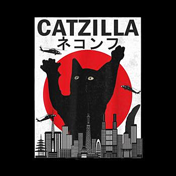 BustedTees: Vintage Catzilla Japanese Sunset Style