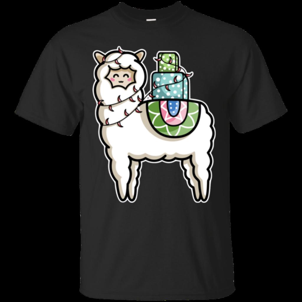 Pop-Up Tee: Kawaii Cute Llama Carrying Presents